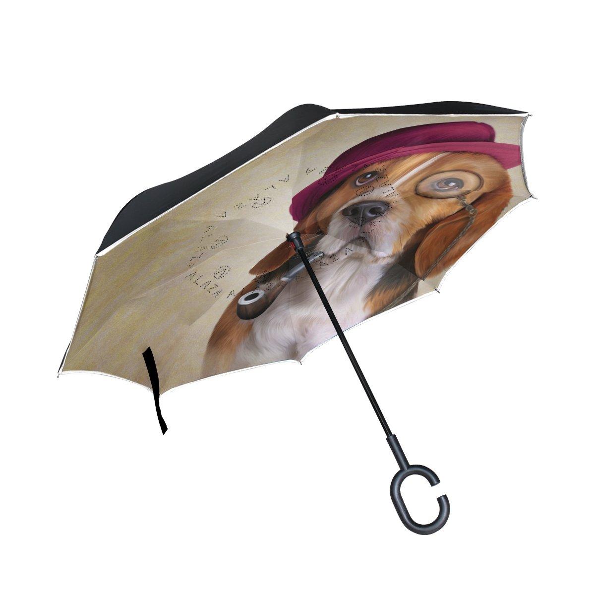MyDaily Double Couche inversé Parapluie Cars Envers Parapluie Funny Beagle Coupe-Vent UV Proof Voyage extérieur Parapluie