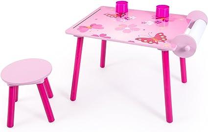 Homestyle4u 1125 Kindersitzgruppe Schmetterling Kinder Mädchen 2 teiliges Set Kinder 1 TischMaltisch 1 Hocker Papierrolle Stiftebox aus Holz