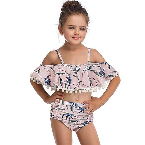 HUXINFEI Bikini niña Traje de baño de impresión 2 Piezas ...