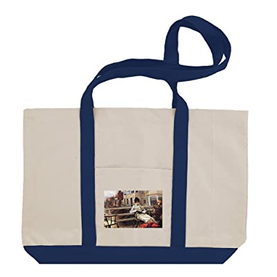 On The Ferry Waiting #1 (Tissot) Cotton Canvas Boat Tote Bag Tote cheap