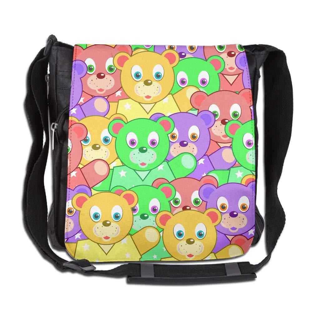 SARA NELL Messenger Bag,colorful Bear,Unisex Shoulder Backpack Cross-body Sling Bag