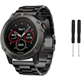 Senter Stainless Steel Strap Wrist Correa Replacement with Durable Folding Metal Clasp for Garmin fenix 5x/Fenix 3/Fenix 3 HR Watch