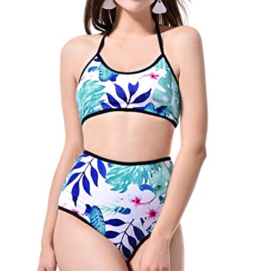 6c07d2bb0fab8 iBaste Women's Halter Neck Printed Bikini Swimwear Set 2 Pieces Girls  Backless Swimsuit Tankinis Bathing Suit