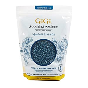 GiGi Hard Wax Beads, Soothing Azulene Hair Removal Wax for Sensitive Skin, 32 oz