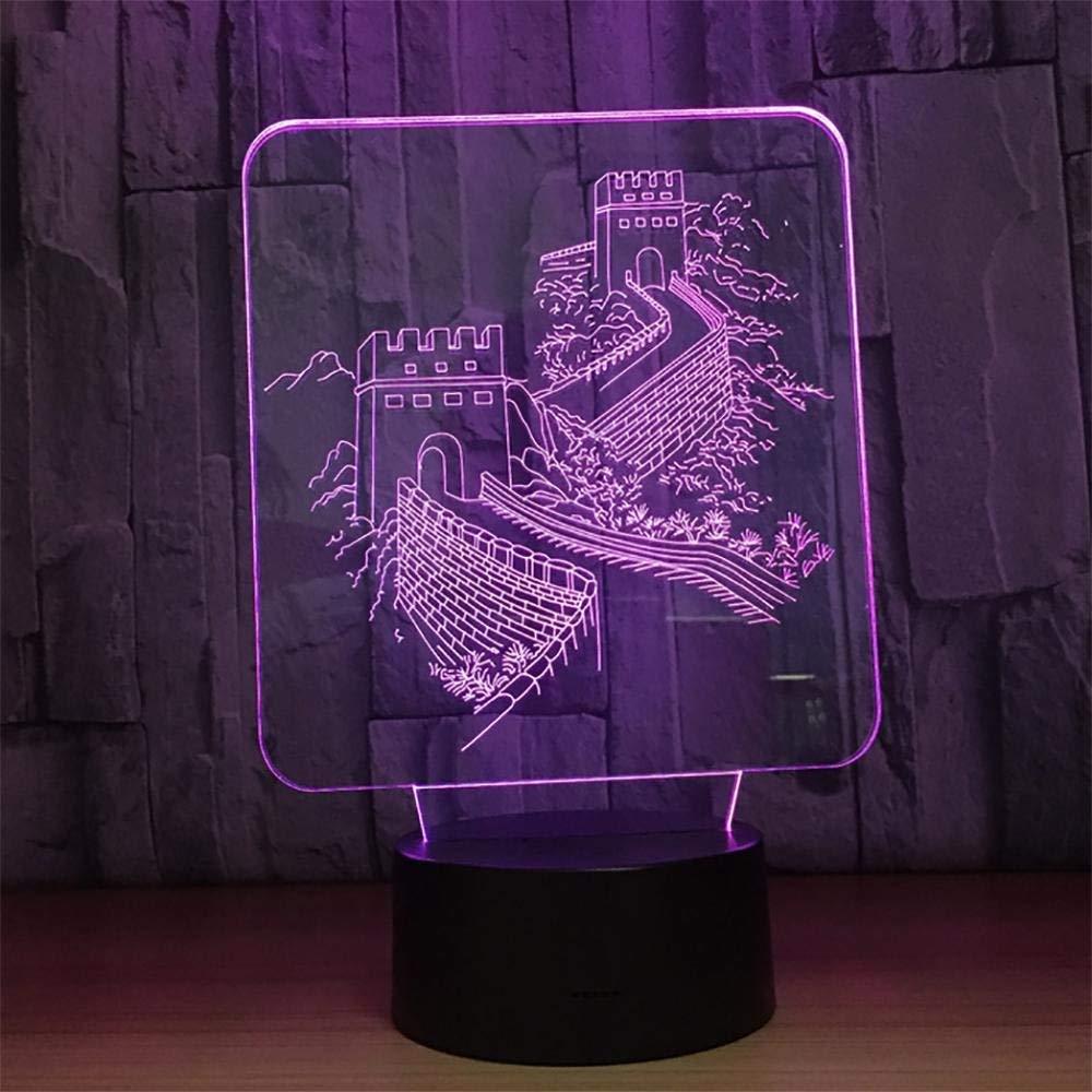 Eeayyygch Nachtlicht 3D LED Touch Schreibtischlampe 7 Farben Ändern Nachtlichter USB Ladegerät Für Dekoration Geschenk Miles Great Wall (Farbe   -, Größe   -)