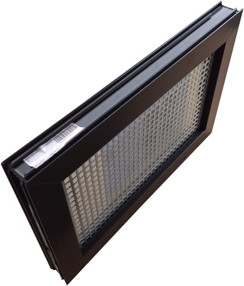4 Fensterbauschrauben Schutzgitter Kellerfenster braun 60 x 40 cm Einfachglas montierter Insektenschutz