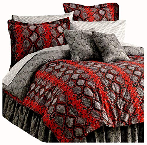 - Snake Skin Completely Reversible Comforter~Sham(s)~Bedskirt & Sheet Set (6pc Twin Size) TOSS Pillows NOT Included!
