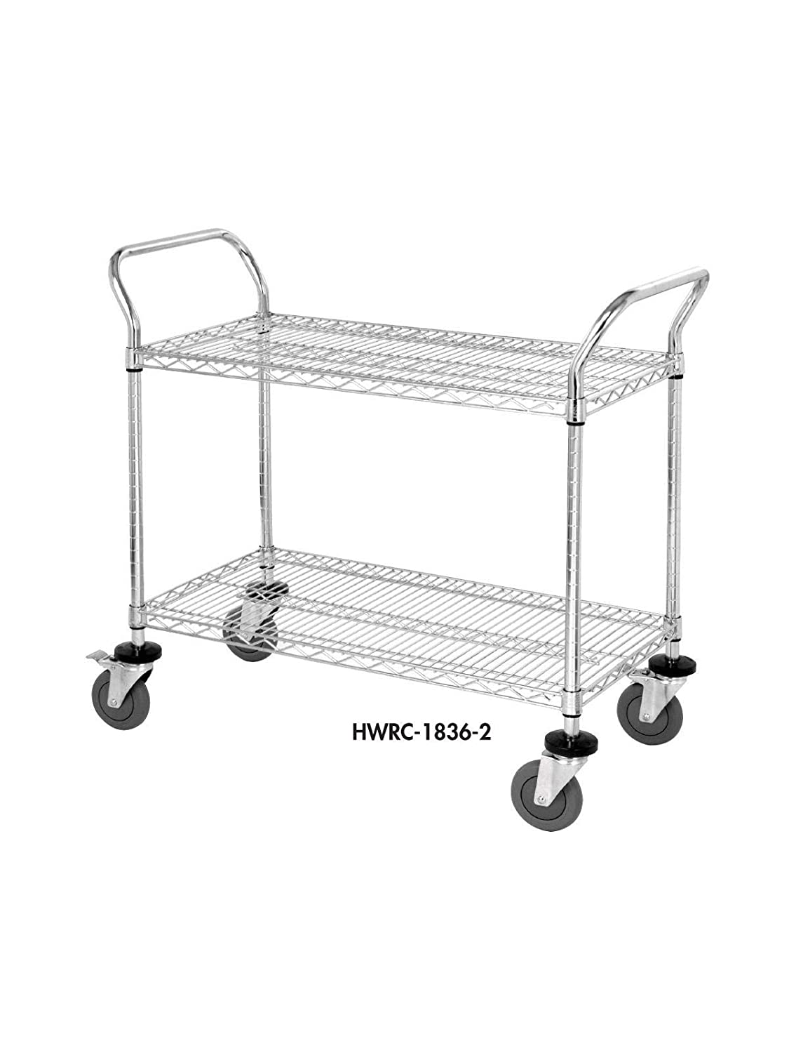 Quantum Storage Systems WRC-1842-3 3-Tier Wire Utility Cart, 3 Wire Shelves, 5 Stem Casters, Chrome Finish, 37-1 2 Height x 18 Width x 42 Length