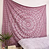 Popular handicrafts Elephant Tapestry Wall Hanging Hippie Bohemian Mandala Wall Art With Metallic Shine tapestries (215x230cms)Maroon and Silver