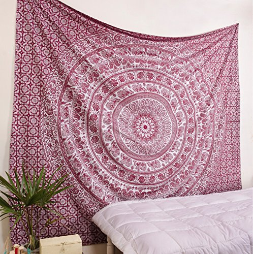 Popular handicrafts Elephant Tapestry Wall Hanging Hippie Bohemian Mandala Wall Art With Metallic Shine tapestries (215x230cms)Maroon and (Metallic Tapestry)