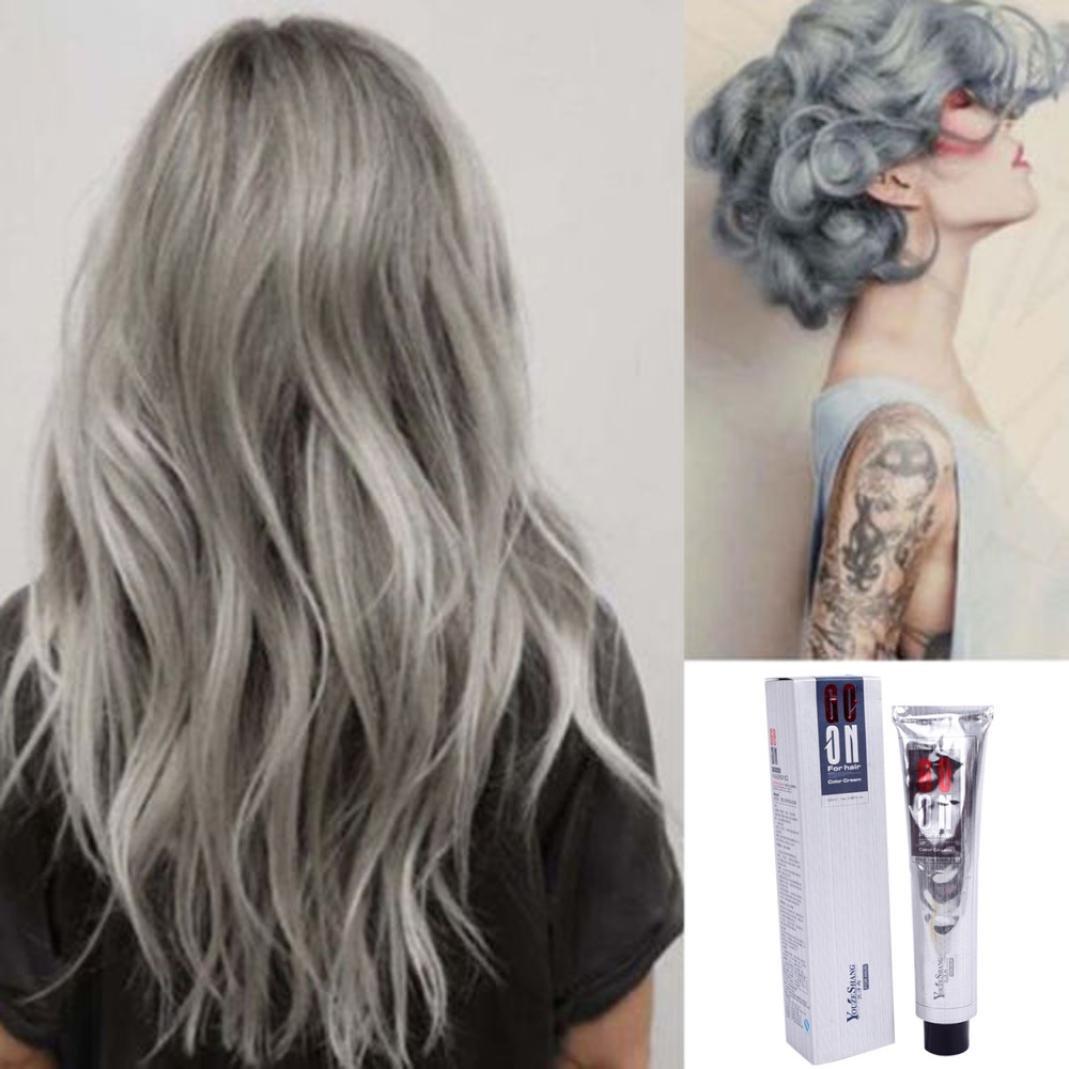 Ecurson 100ML Fashion Permanent Punk Hair Dye Light Gray Silver Color Cream