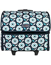Everything Mary Collapsible Sewing Machine Case, Teal - Craft Rolling Tote Cover Bag with Wheels for Brother, Singer, Bernina, & Most Machines - Storage Organization Carrying Cart for Accessories