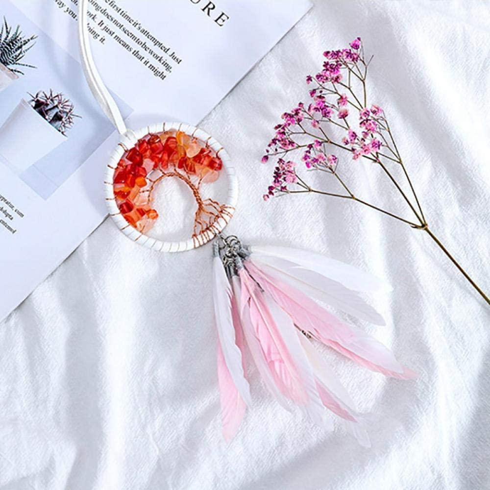 Tree of Life Dream Catcher Feather Car Mirror Hanging Pendant Auto Interior Decor in Car Accessory for Girls Gifts Car Ornaments Pink