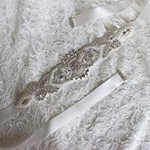Women's Silk Ribbon Bridal Belt Party Prom Dress Sash for Wedding,Natural White