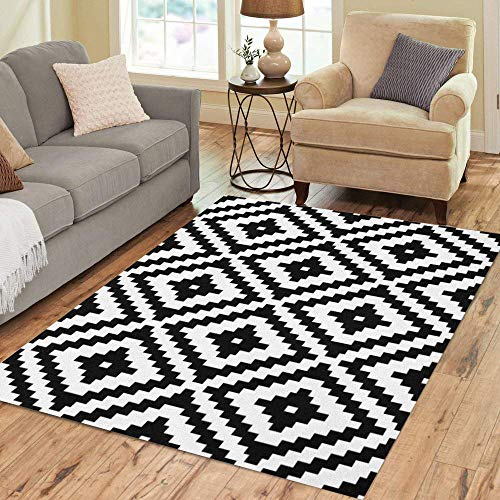Semtomn Area Rug 2' X 3' Abstract Pattern Monochrome Black White Geometry and Arabesque Geometric Home Decor Collection Floor Rugs Carpet for Living Room Bedroom Dining Room