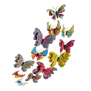 12PCS PVC 3D Butterfly Fridge Magnets Refrigerator Magnets Wall Stickers with Magnet for Wall Decor Art Decor Crafts Home Party Decoration