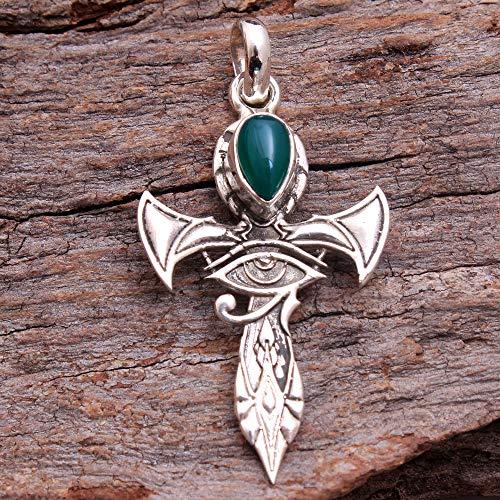Holy Cross Pendant Green Onyx Gemstone Pendant 925 Sterling Silver Jewelry Pendant Jewelry Vintage Silver Antique Jewelry Boho Silver Jewelry Pendant