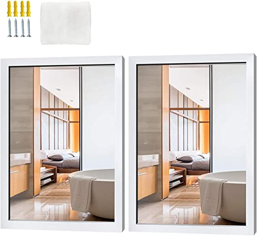 Amazon Com Schliersee Wall Mirror 16x20 Inch Rectangular White Framed Mirror For Bathroom Living Room Bedroom 2 Packs Furniture Decor