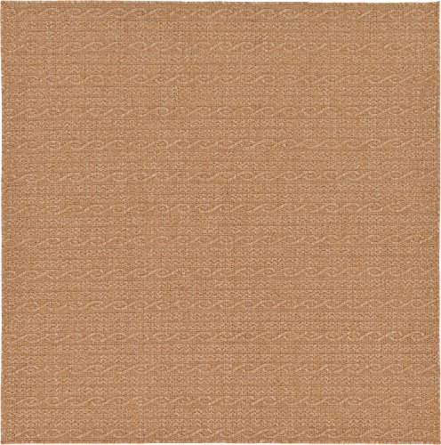 Unique Loom Outdoor Modern Collection Striped Casual Transitional Indoor and Outdoor Flatweave Light Brown  Square Rug (6' 0 x 6' ()