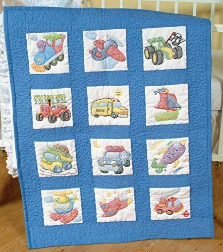 Jack Dempsey Cotton Blend Stamped White Nursery Quilt Blocks 9-Inch x 9-Inch-Transportation by Jack ()