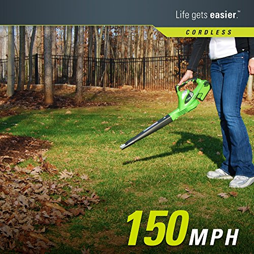 GreenWorks 24252 G-MAX 40V 150 MPH Variable Speed Cordless Blower, (2Ah) Battery and Charger Included