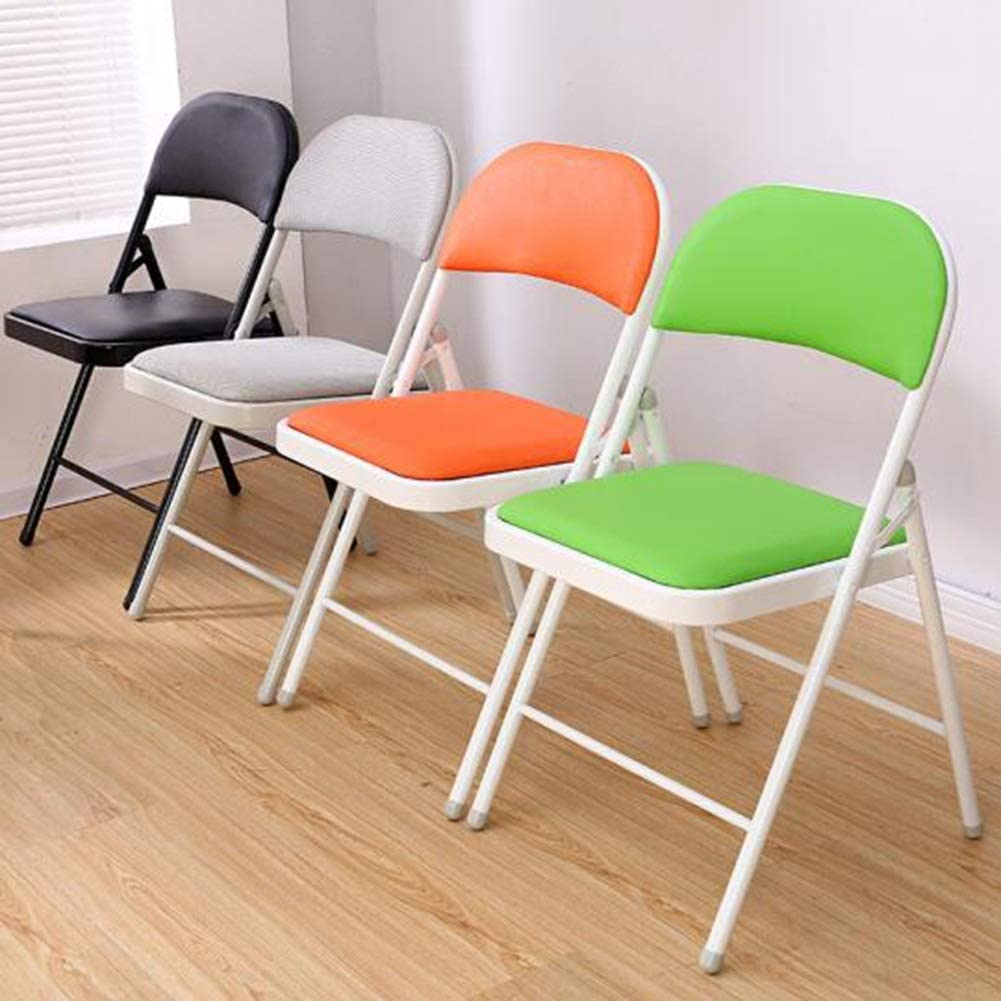 (4pcs) Folding Chair,hair Stool Folding Seating Indoor Outdoor Home Office Conference Room 3 Color 45 * 46 * 76cm,Orange Black