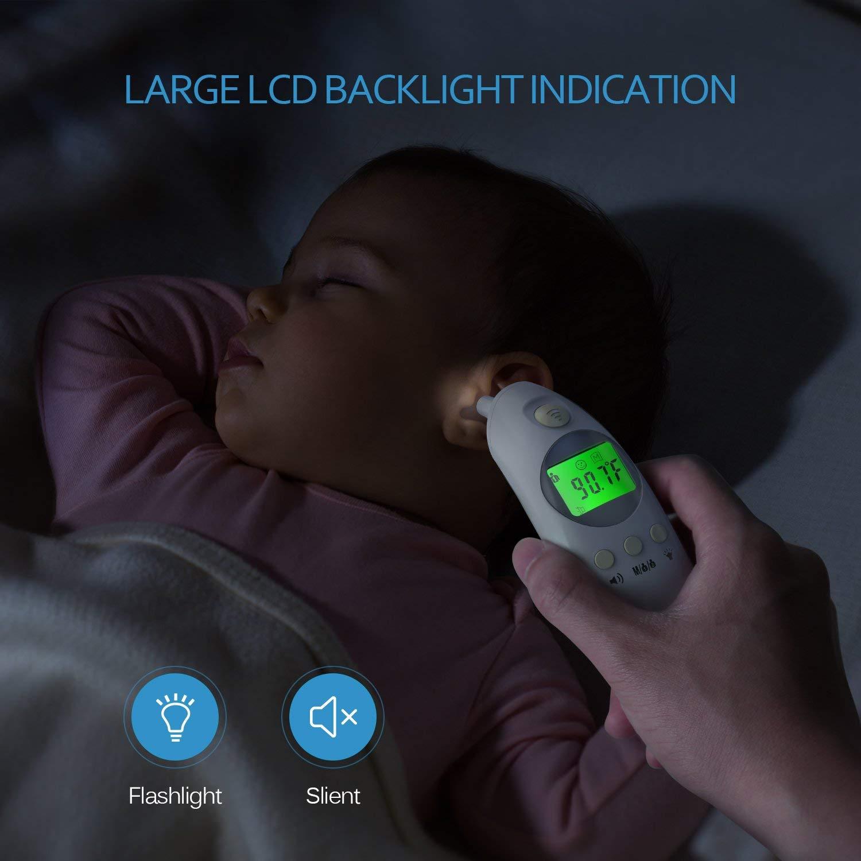 Baby Fieberthermomete, Stirnthermometer Ohrthermometer Medizinischer Infrarot Digital Thermometer, Sofortiges Lesen Fieberwarnung Klinische Überwachung CE FDA und RoHS Zertifiziert