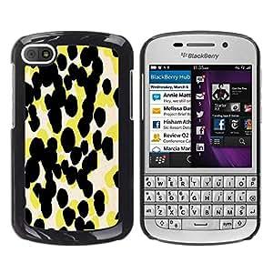 FECELL CITY // Duro Aluminio Pegatina PC Caso decorativo Funda Carcasa de Protección para BlackBerry Q10 // Yellow Pattern Abstract Art
