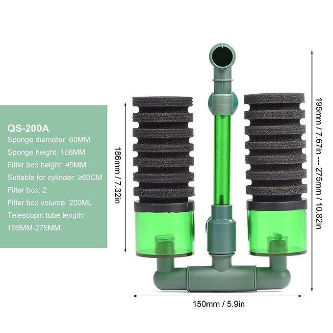 Filtro bioquímico Bio de Espuma Esponja de Cabeza Doble Bomba de Aire con Ventosa para Acuario(QS-200A): Amazon.es: Jardín