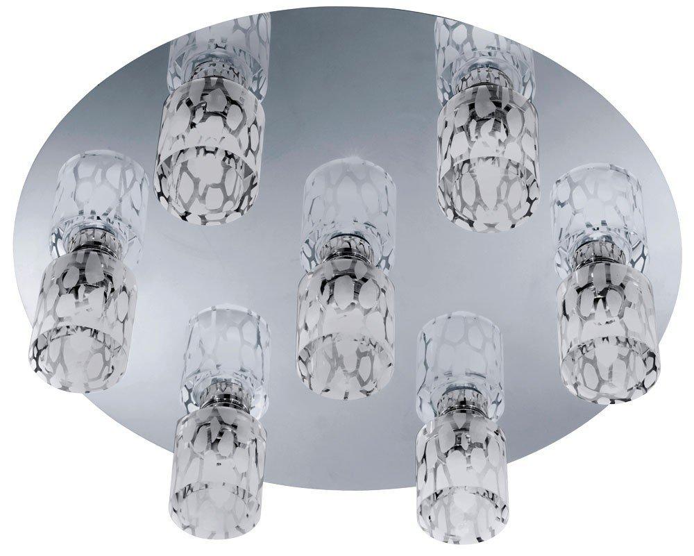 Elegante Decken Leuchte Wohnzimmer Beleuchtung Chrom Glas klar EEK A++ 7-flg im Set inkl. LED Leuchtmittel