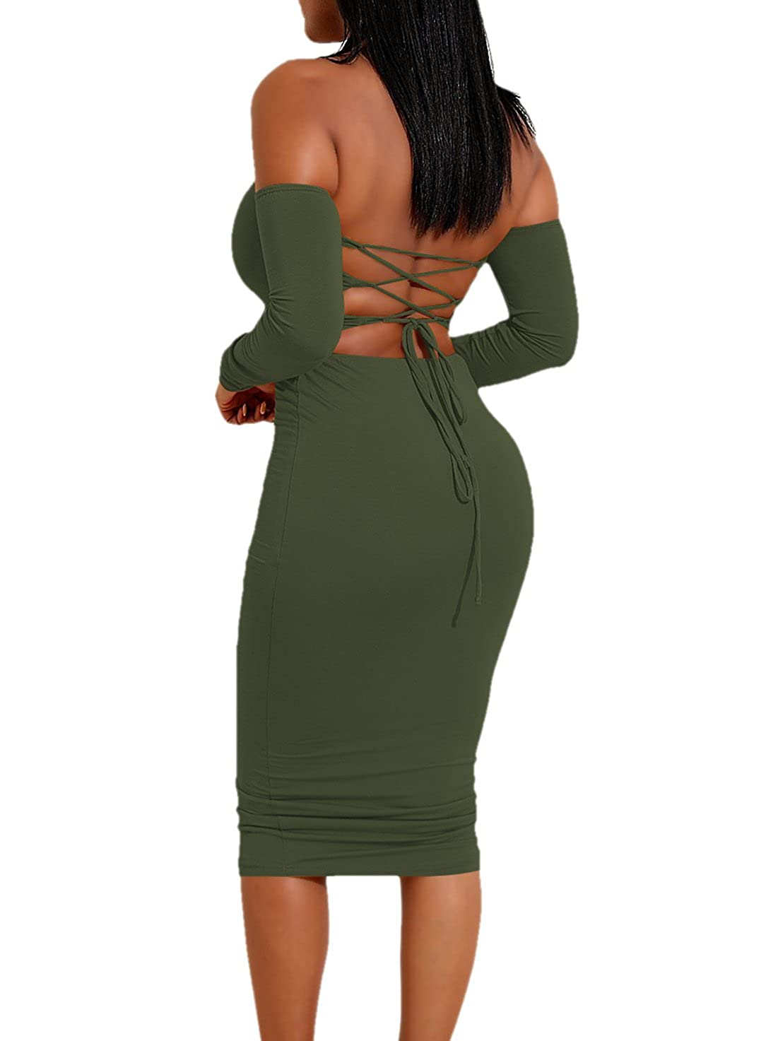 be82f338a239 Ropaus Womens Sexy Off Shoulder Bandeau Long Sleeve Backless Crop Top  Bodycon Midi Skirt 2 Pieces Dress at Amazon Women s Clothing store