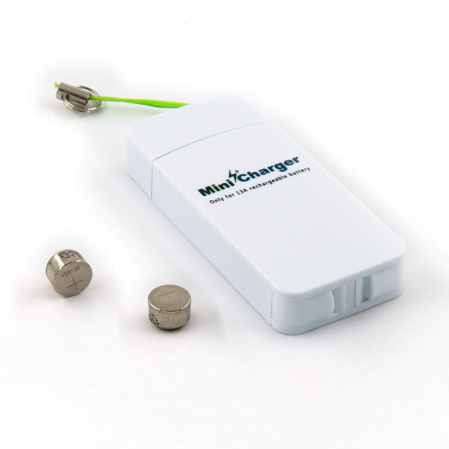 Hearing Aid Size 13 Battery Charger with Rechargeable Batteries, One Mini USB Charger and Two Size 13 NI-MH P13 Hearing Aid Batteries - Neosonic