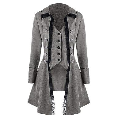 JiaMeng Abrigo Chaqueta de Chaqueta gótica Frock Coat Uniforme Traje Praty Outwear Bombardero Chaquetas y Abrigos Talla Extra: Amazon.es: Ropa y accesorios