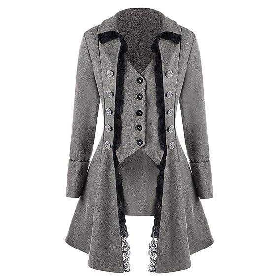 JiaMeng Abrigo Chaqueta de Chaqueta gótica Frock Coat ...