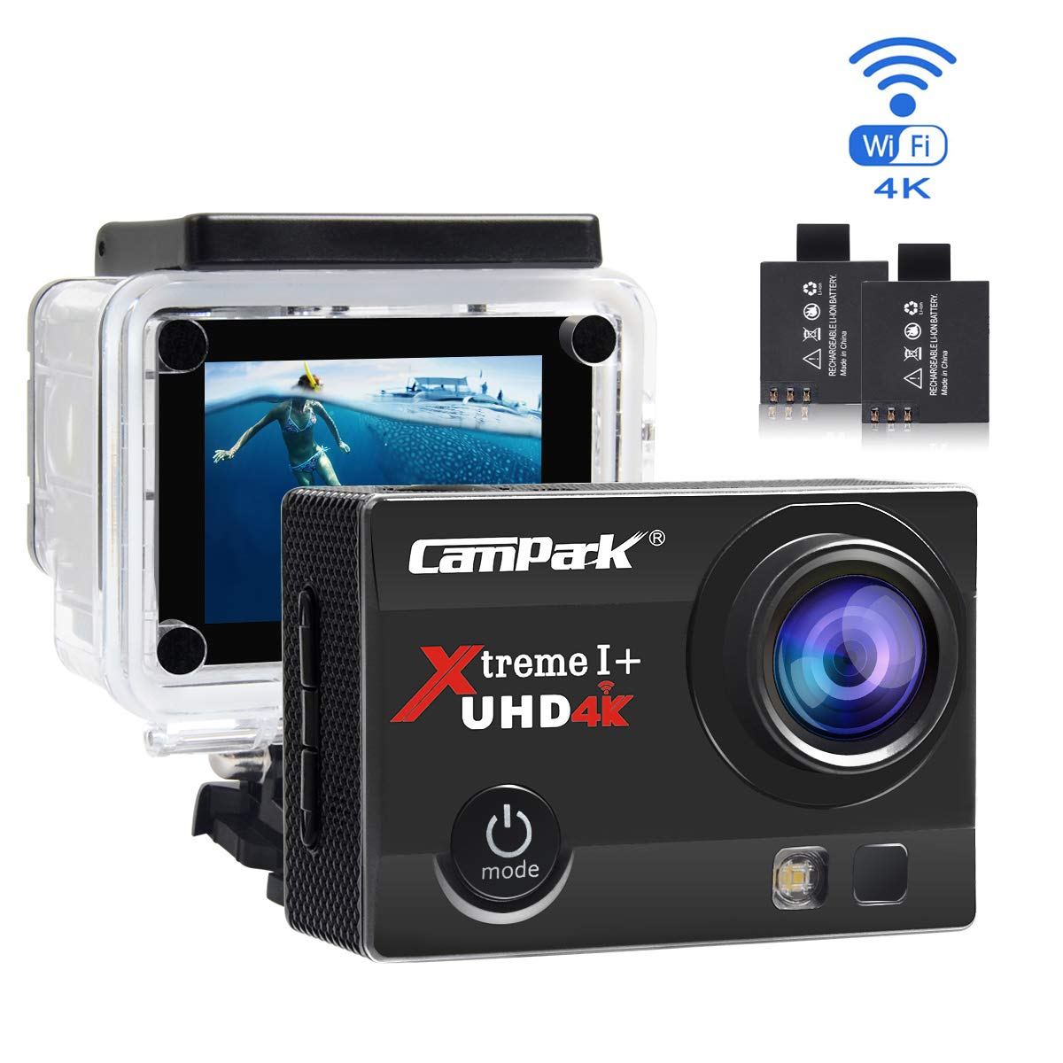 Action Cam Campark 4K Wifi Sports Action Kamera 16MP Ultra Full HD Helmkamera Wasserdicht mit Dual Batterien und Kostenlose Zubehör Kits ACT74-DE