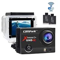 Action Cam Campark 4K Wifi Sports Action Kamera 16MP Ultra Full HD Helmkamera Wasserdicht mit Dual Batterien und Kostenlose Zubehör Kits