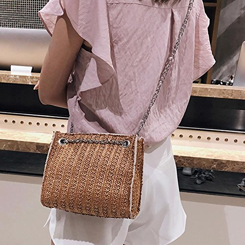 Shoulder Handbags Crossbody Women Brown Chain Beach Messenger Straw Summer Domybest Totes UwfxYFqIf