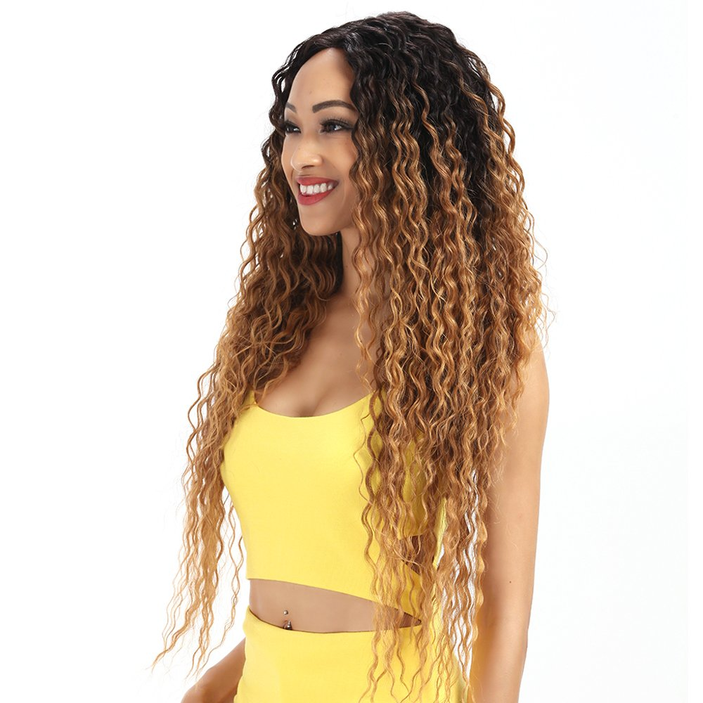 Joedir Lace Front Wigs Ombre Blonde 28'' Long Small Curly Wavy Synthetic Wigs For Black Women 130% Density Wigs(Ombre Gold Color)