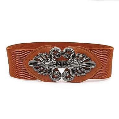 0d86c27c3a2d TY belt Ceinture Large Ajustable avec Élastique Boucle Vintage-Femmes (brun)