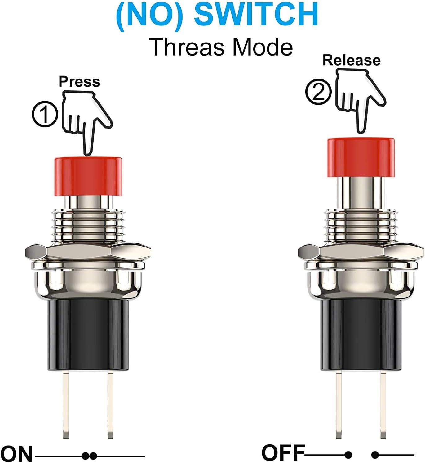 VISSQH 30Pcs Mini Momentary Push Button Switch for Model Railway Hobby Arduino DIY 7mm 1A 250V AC 2 Pins SPST