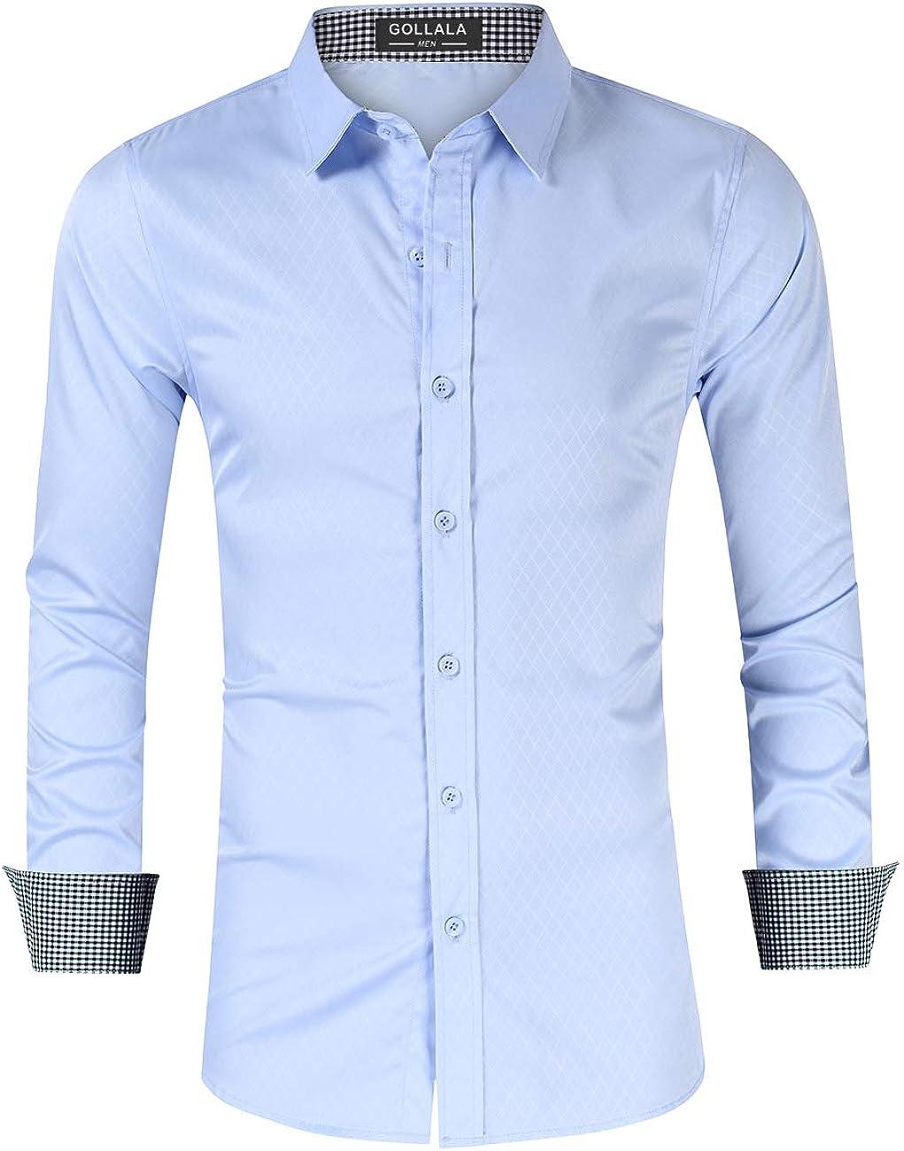 Gollala Men's Casual Long Sleeve Dress Shirt Regular Fit Plaid Collar Button Down Business Dress Shirts
