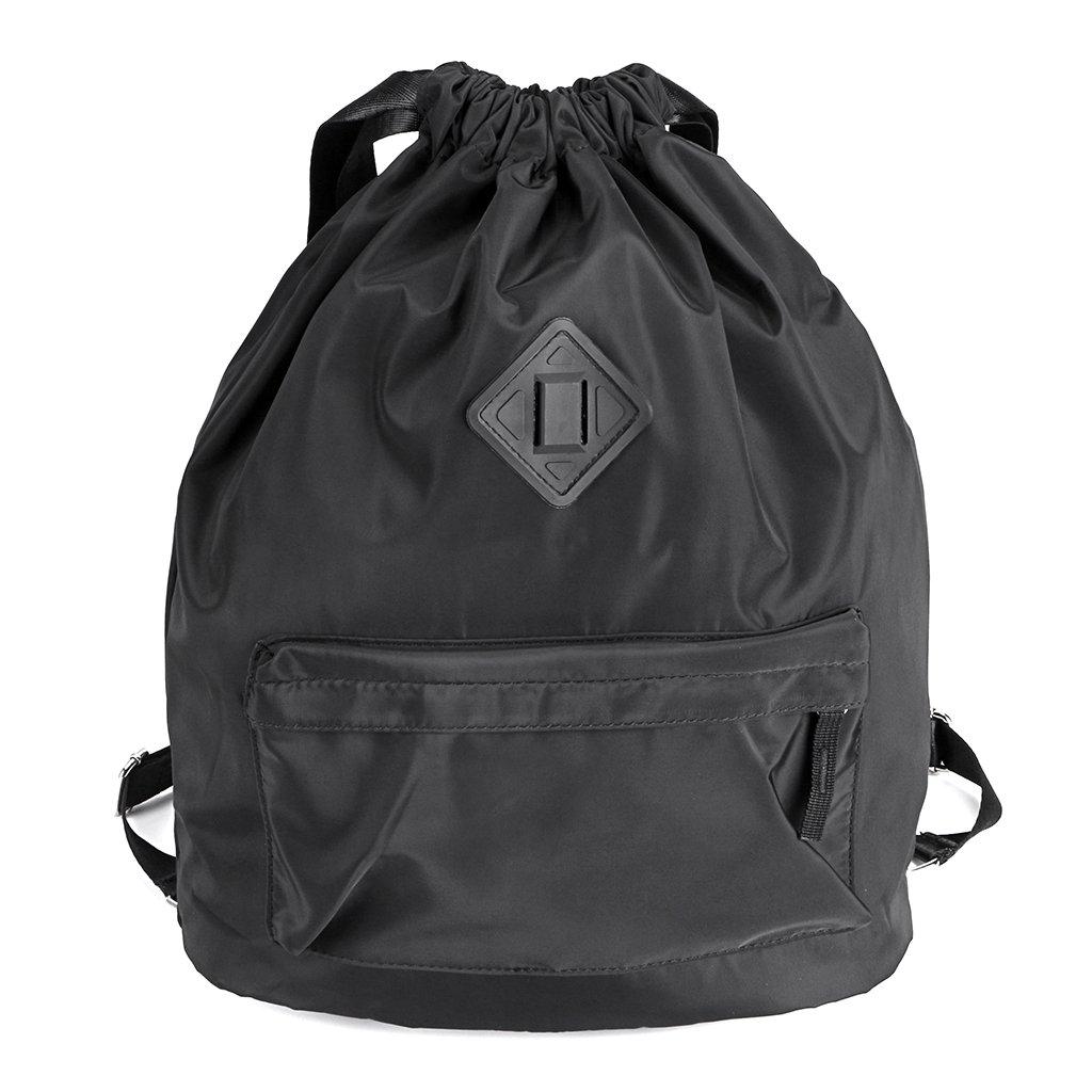 Hipiwe Drawstring Backpack with Large Capacity,Water Repellent Lightweight Travel Rucksack, Foldable Sport Gym String Bag Cinch Sack Sackpack Gymsack School Bag for Men Women Student Use (Black)