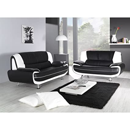 3 And 2 Black With White Retro Leather Sofa - Combinations ...
