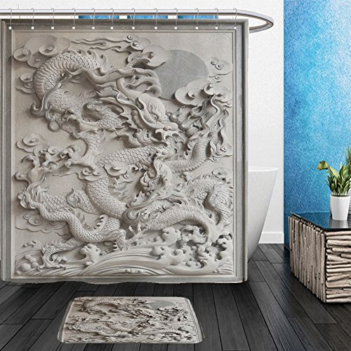 Vanfan Bathroom 2?Suits 1 Shower Curtains & ?1 Floor Mats Chinese Dragon Granite Stone Carving on Temple Outside Wall_12383968 From Bath room