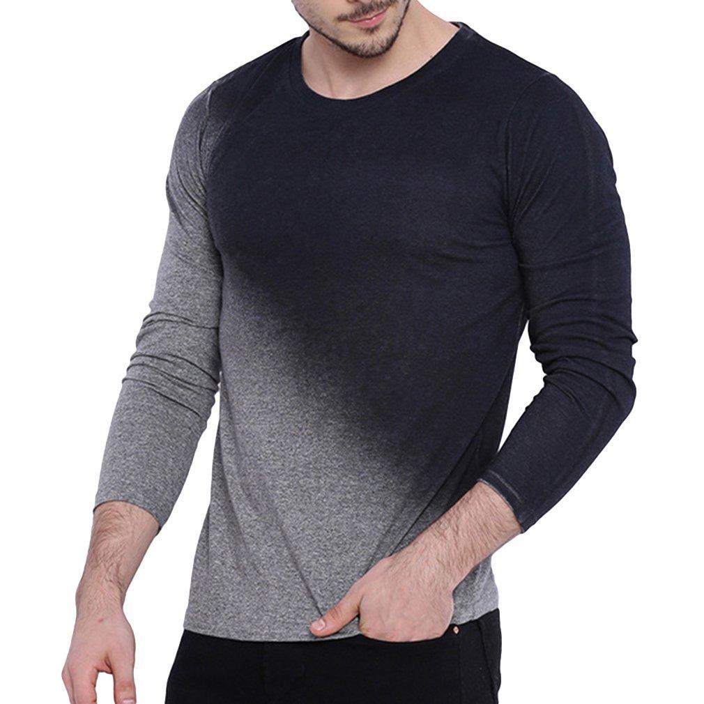Men/'s Slim Tee Shirt Tops Sweater Fit Long Sleeve Slim T-shirts Casual Sports