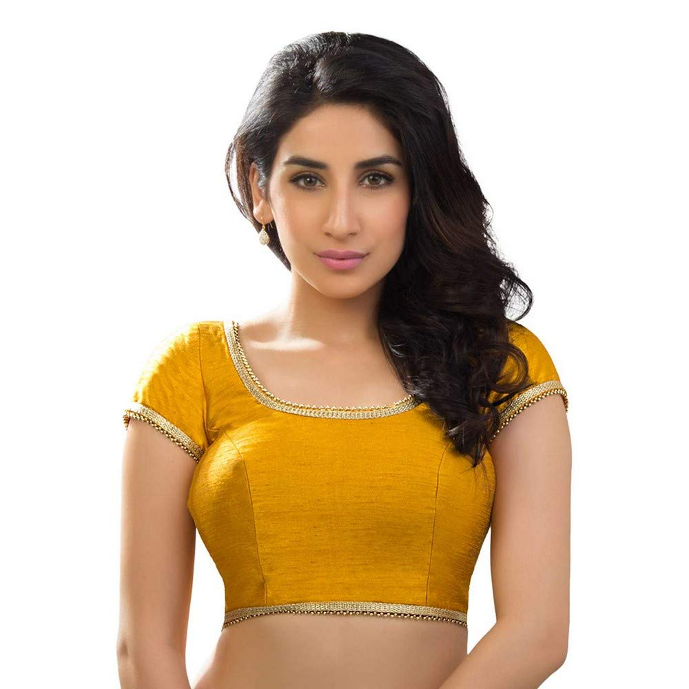 Mustard Designer Indian Traditional Dupion Silk Padded Half Sleeves Saree Blouse Choli (X287) Multiple colors Available