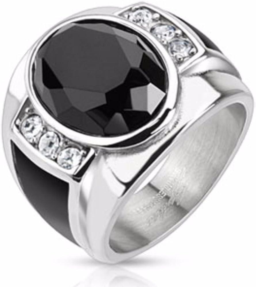 Spikes Diamond Cut Onyx Piedra con Esmalte Negro Lados Fundido Anillo de Acero Inoxidable