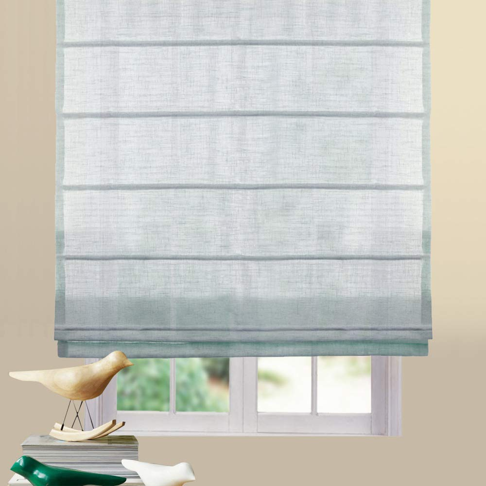 Buy Artdix Roman Shades Blinds Window Shades Azure Blue 54 W X 36l Inches 1 Piece Linen Sheer Solid Fabric Roman Shades For Windows Doors Home Kitchen Living Room Online At