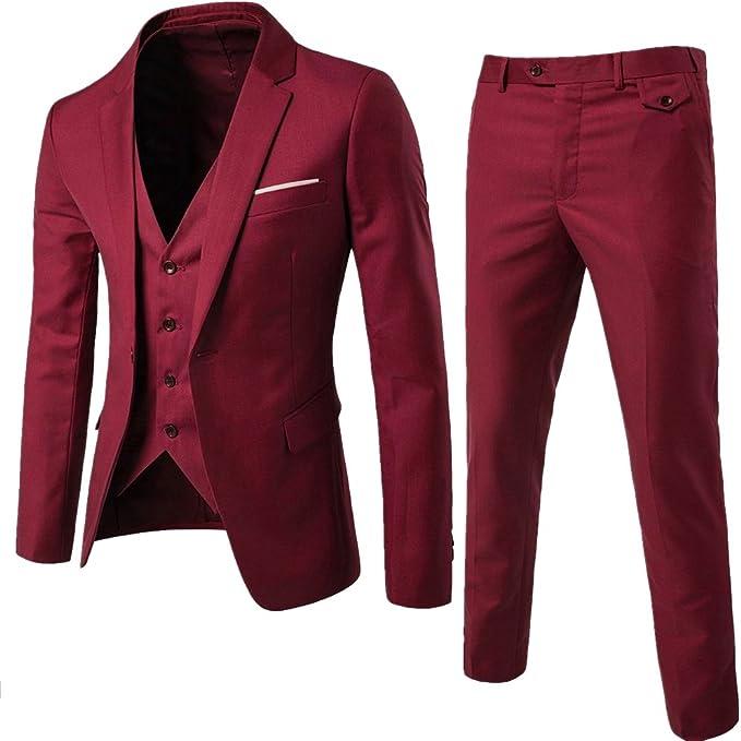 Sunshey Herren Anzug 3 Teilig Slim Fit Anzugsjacke Anzugsweste Anzugshose EIN knopf Muster 9 Farben