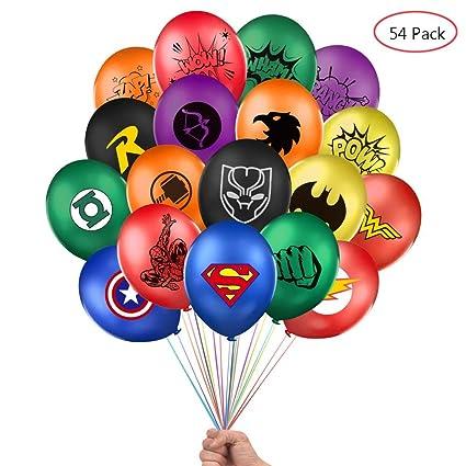 Amazon.com: Globos de superhéroe de Lsang, 54 unidades de 12 ...